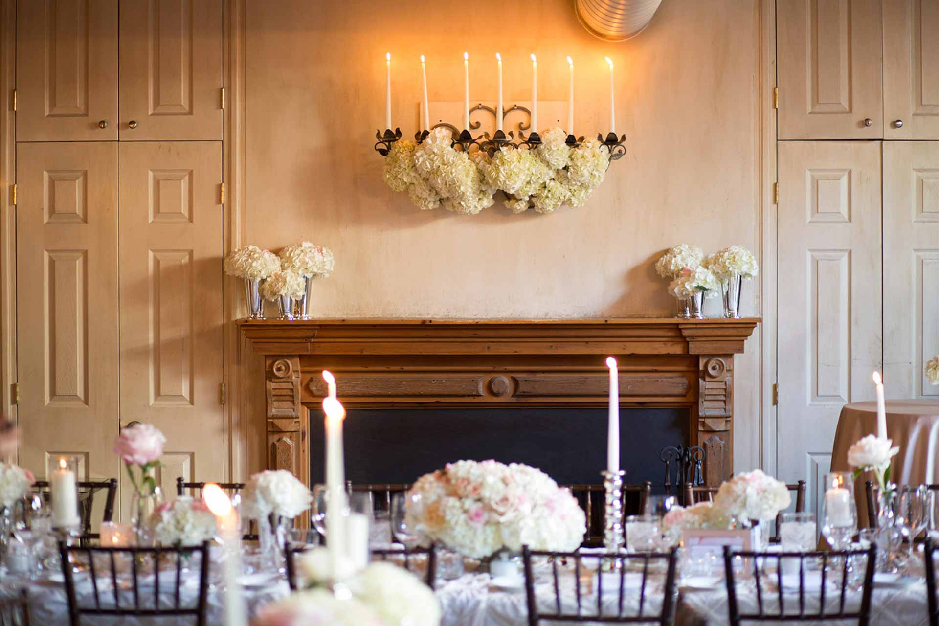 Toronto Wedding Venue - Restaurant Reception - Elegant Head Table and Fireplace