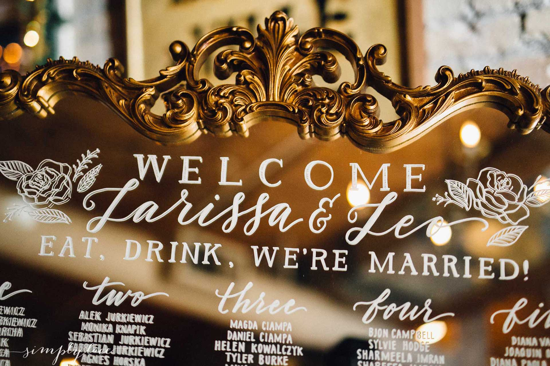 Winter Wedding Ideas - Mirror and Calligraphy Seating Chart