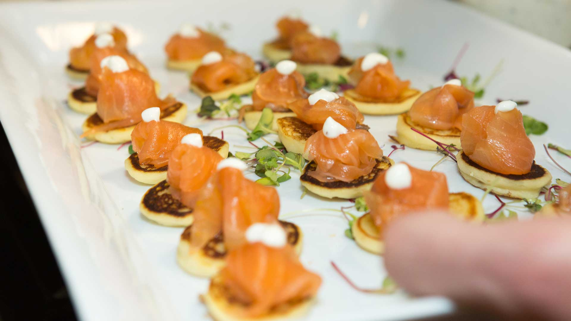 Wedding Catering Chef Challet Salmon Gravlax on Blini